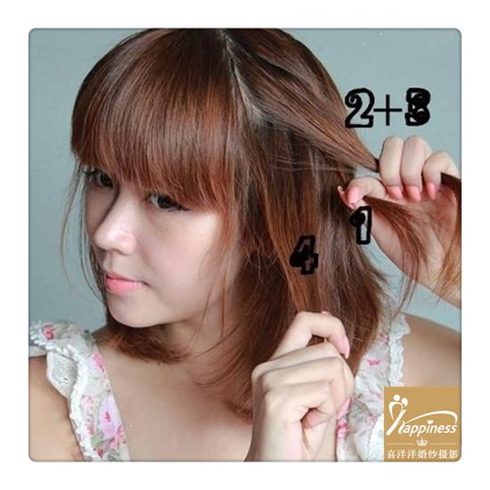 步骤四:编发的过程中,取少量头发加入编发中